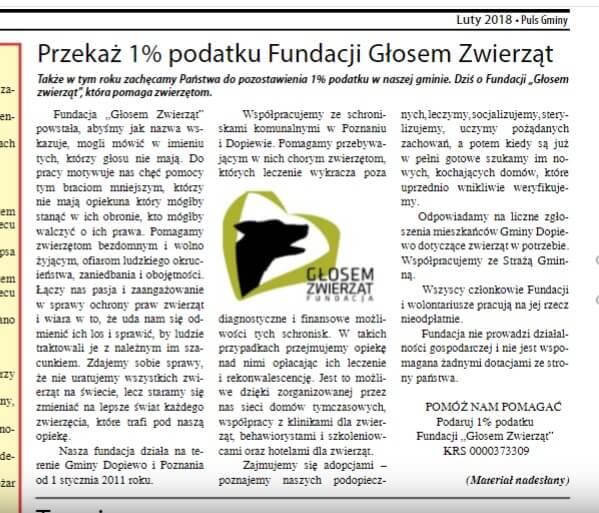 1% dla naszej Fundacji - zachęca Gmina Dopiewo