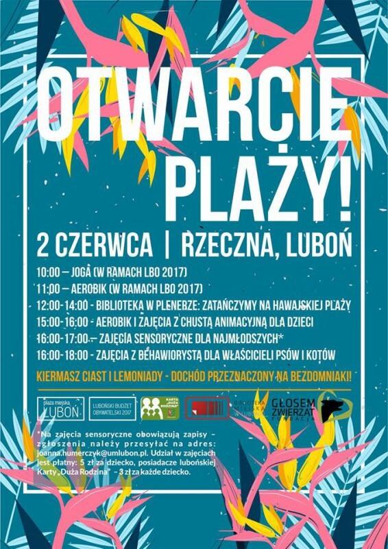 Zapraszamy na otwarcie plaży miejskiej w Luboniu